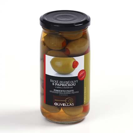 Řecké olivy plněné papričkou